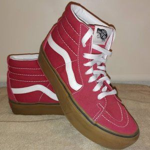 Vans Off The Wall Red High Tops Skateboard Shoes